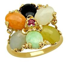 VTG Women's Natural Gemstone Jade Ring in Solid 14k Real Yellow Gold