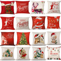 Christmas Linen Cushion Cover Throw Pillow Case Xmas Home Decor Festive Gift Hot