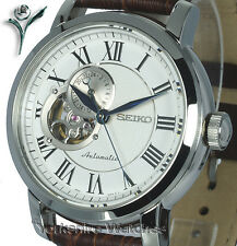 New SEIKO CLASSIC AUTO SKELETON WHITE FACE LEATHER BUCKLE STRAP SSA231K1