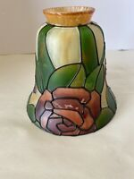 Tiffany Style Hanging Stained Glass Ceiling Fan / Light Lamp Shade Needs Repair