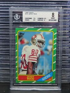 1986 Topps Jerry Rice Rookie Card RC #161 BGS 8 NM-MT 49ers F59