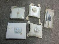 DAMAGED Wedding Lot Ring Bearer Pillow Photo Album Cake Knife Server Guest Book
