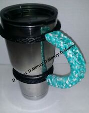 Paracord Handle for 40oz, 30oz, or a 20 Yeti, Ozark & ritic. Turquois & White