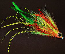 PIKE FLY TICKLER FIRE TIGER TIED TO 50 MM. PLASTIC TUBE.