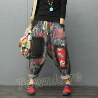 Women Denim Floral Printed Baggy Harem Pants Loose Casual Cropped Jeans Trousers