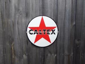 CALTEX STAR PETROL 355mmD 14 INCH HEAVY STEEL GARAGE SIGN NOT TIN