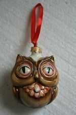 2 in 1 mini shtof jug christmas toy - Owl,Moscow PORCELAIN Factory
