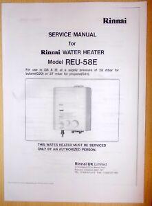 RINNAI REU 58E WATER HEATER BOILER MANUAL CARAVAN CAMPER BOAT PROPANE BUTANE