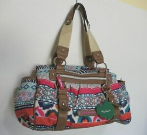 Lily Bloom 100% Polyester Geometric Pink Turquoise Shoulder Hand Bag Purse