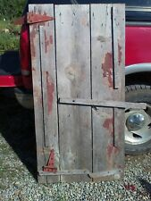 antique barn wood door storage shed Weathered some paint w/Hinges 59x30.5 rare