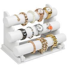 3er Schmuckständer Schmuckhalter Armbandständer Uhrenständer Kunstleder weiß