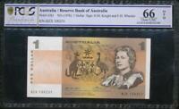 Australia 1976 $1 Banknote Knight/Wheeler - PCGS 66 Gem UNC OPQ