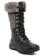 NEW UGG Women Adirondack Waterproof Leather Tall Lace-Up Boot US 7/38 Black/Grey