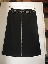 Référence - jupe noire - ceinture brodée beige - 36