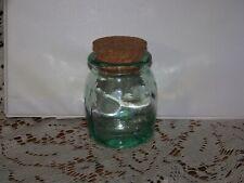 "Light Green Square Glass Jar w/Cork Stopper, almost 4"" tall"