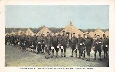 Hattiesburg MS~WWI Camp Shelby~Chow Line at Noon~Soldiers & Tin Plates~Tents