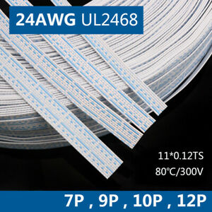 24AWG Flexible PVC Flat Ribbon Cable Terminial Wire Stranded UL2468 7Pin - 12Pin