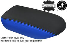 BLACK & BLUE TOP GRAIN REAL LEATHER ARMREST COVER FITS GT-R GTR R35 2009-17