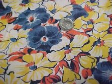 SALE BEST Vintage Feedsack Quilt Fabric Morning Glory Blue Yellow RED Flour Sack