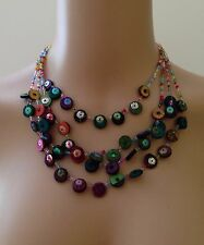 Four Strand Plastic Wood Bead Multi Coloured Necklace Womens