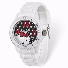 OFFICIAL SANRIO Hello Kitty watch.WHITE silicone strap and BLACK dial.