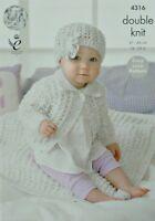 KNITTING PATTERN Baby's Easy Knit Collared Cardigan, Blanket & Hat DK KC 4316