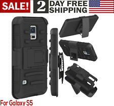 For Galaxy S5 Case Hybrid Dual Layer Armor Defender Full Protective Cover Belt