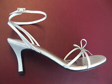 Strappy Silver & Rhinestone High Heel Dress Ankle Wrap Shoes Sandals 8M George