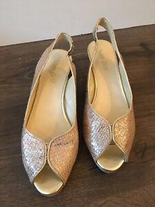 Van Dal Gold Sparkle Peep Toe Wedge Size 4.5