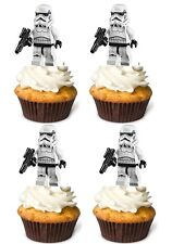 25 Star Wars stormtrooper Edible Cup Cake Toppers Birthday STAND UP Decoration