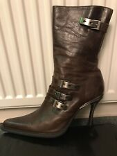 New Rocks Ladies Sexy Brown Leather Stiletto Heels Boots Uk 7 40