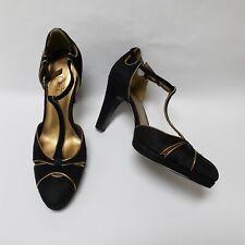 Ann Taylor Loft Womens T-Strap Heels Ankle Strap Black Gold Size US 7 M
