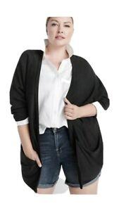 "Ryllace NWT $198 Silk Blend Open ""Villa"" Kimono Cardigan Plus 2X Charcoal Black"