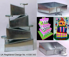 "Topsy Turvy 4 Tier Square Cake Pans Tins New Design By EuroTins 6"" 8"" 10"" 12"""