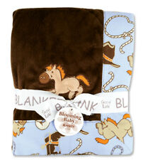 """Cowboy Baby Receiving Blanket 30"""" x 40"""" By Trend Lab 102177 New"""