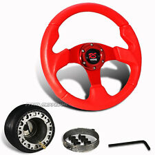 320mm Red PVC Leather Racing Steering Wheel + Hub For Toyota Scion Honda Acura