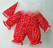 TEDDY BEARS PATTERNED CLOWN OUTFIT-FITS BEARS 16inc / 40cm TALL-MADE IN ENGLAND