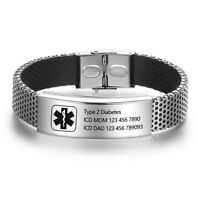 Personalized Medical Alert ID Men Women Bracelet Stainless Steel Band Customized