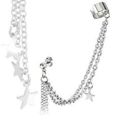 316L Stainless Steel CZ Stud Chain Earring with Star Dangles and End Clip