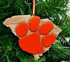 """CLEMSON TIGERS STATE MAP LOGO RESIN ORNAMENT 4"""""""