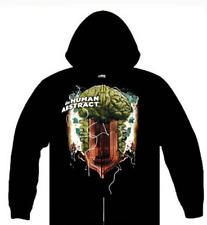 The Human Abstract Men's Brain Waves Zippered Hooded Sweatshirt Black S NEW