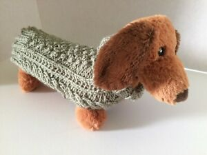 "Irish cable knit aran sweater for dogs pets handknit in Ireland 8"" long Small"
