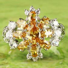 Fashion Women Oval Cut Jewelry Morganite & White Topaz Gems Silver Ring Size 10