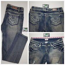 Women's SAZA Destroyed Distressed Jeans Sz 11 Embellished Pockets EUC
