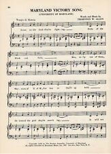 """Vintage MARYLAND UNIVERSITY song sheet """"MARYLAND VICTORY SONG"""" 1950s"""