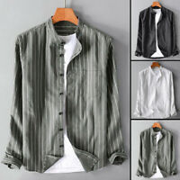 US Men Casual Striped Shirt Linen Loose Collar Neck Long Sleeve Button Down Tops