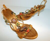 Giuseppe Zanotti Gold Suede Leather Jeweled Leaves Strappy Heels 35.5 US sz 5 M