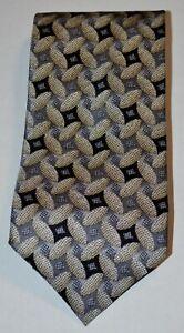 ZANZARA CARNAVAL DE VENISE Gray Taupe Black Geometric Print Silk Tie Italy
