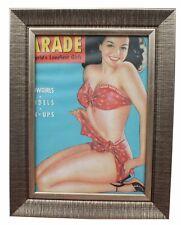 1950 S Pinup Bikini Girl encadrée Magazine Découpe Sexy Hot Lady encadrée Cadeau