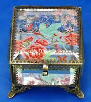 """Glass Box Hinged 4"""" Hand Painted Bird and Butterflies Beveled Glass Mirrored"""